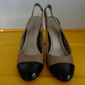 Karen Scott Sling Backs/tan and black